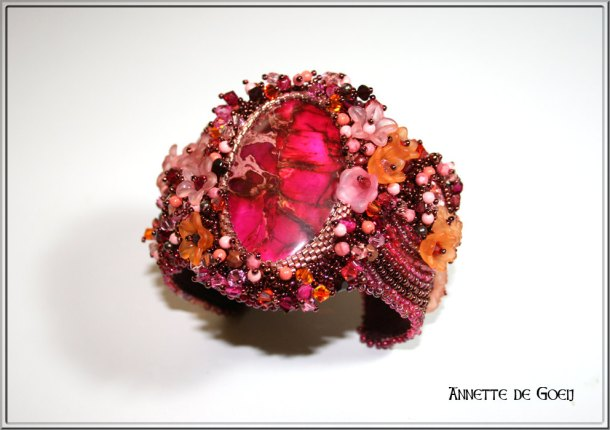 Bead embroidered cuff - Hot Pink by JirikiDesigns