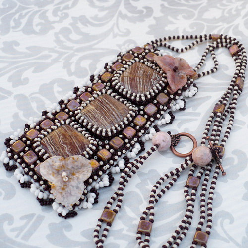 Bead Embroidery Necklace by Aillil