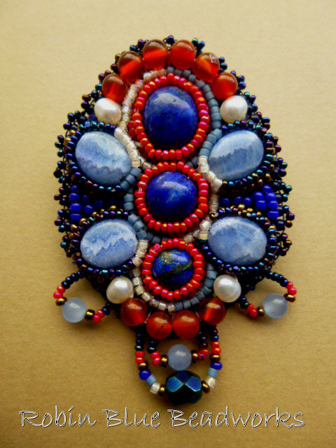 Lapis Lazuli and Blue Lace Agate Bead Embroidered Brooch by RobinBlueBeadworks