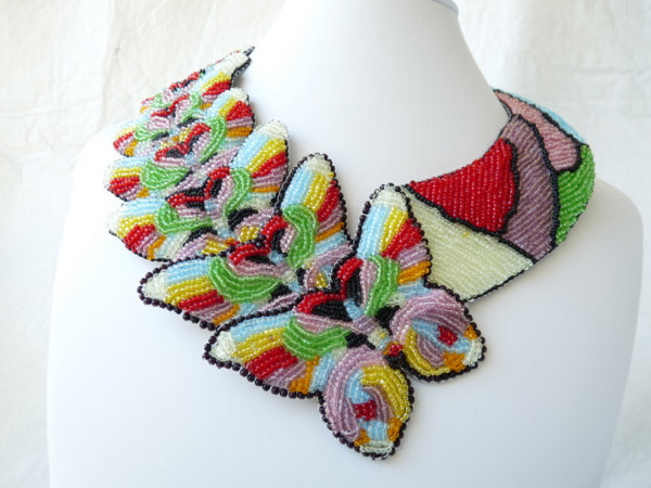 The Butterflies Escape Bead Embroidered Collar Necklace by tropicalkaren